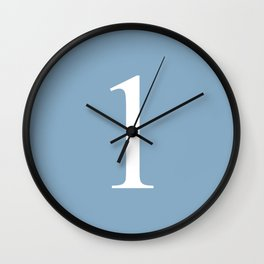 number one sign on placid blue color background Wall Clock