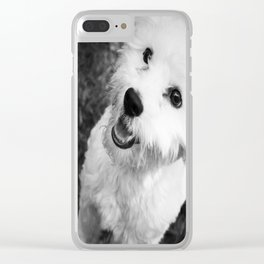 A Puppy Saying Hello Black and White Clear iPhone Case