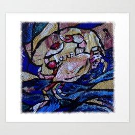Mr. Crab seeking out Adventure in the Deep Blue Ocean along a Beach Shoreline by annmariescreations Art Print