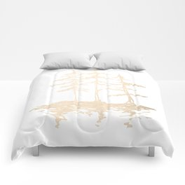 Three Sisters Forest White Gold Trees Comforters