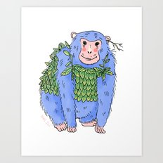 Peachtree The Chimp in Blue Art Print