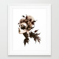 crow Framed Art Prints featuring Crow by Nora Bisi