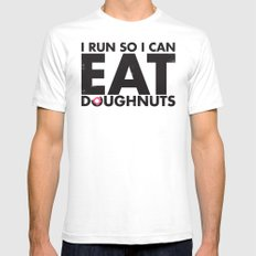 Run to Eat Doughnuts SMALL Mens Fitted Tee White