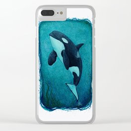 """""""The Matriarch"""" by Amber Marine ~ Orca / Killer Whale (J2 Granny) Watercolor Art, (Copyright 2016) Clear iPhone Case"""