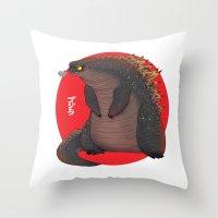 godzilla Throw Pillows featuring GODZILLA by olivier silven