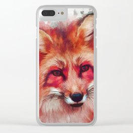 Red fox art #fox #animals Clear iPhone Case