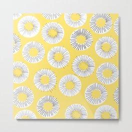 Modern yellow black watercolor abstract circles Metal Print