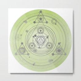 Green geometric shapes Metal Print