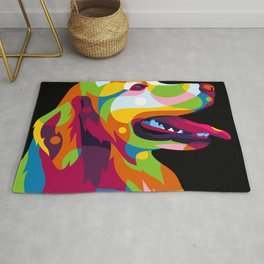 The Colorful Labrador Dog Inside Rug