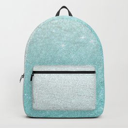 Modern chic teal pastel gradient faux glitter Backpack