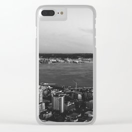 Seattle Summer Sunset from the Needle Panorama in Black and White Clear iPhone Case