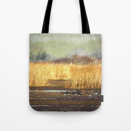 Dusky Canada Geese Wintering At Fern Ridge Tote Bag