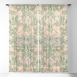 Wood and Leaves pattern Sheer Curtain
