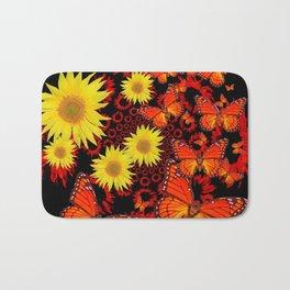 Lemon Yellow Sunflowers Monarch Butterflies Pattern Art Bath Mat