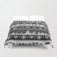 knitting Duvet Covers featuring Hipster Knitting by Sezgen