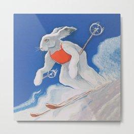 Ski Bunny Vintage Art Metal Print