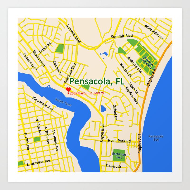 Map of Pensacola, FL Art Print Map Of Pensacola Com on
