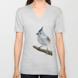 Titmouse bird watercolor Unisex V-Neck