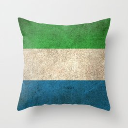 Old and Worn Distressed Vintage Flag of Sierra Leone Throw Pillow