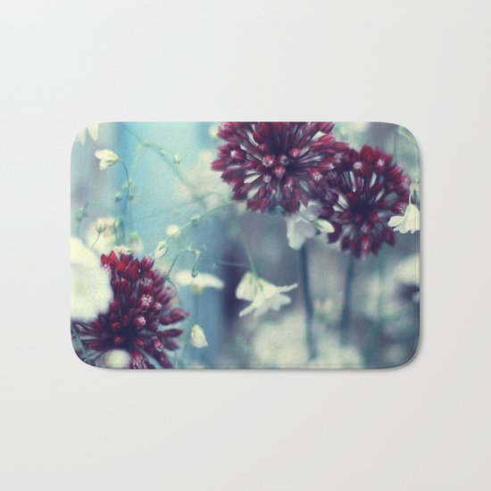 Flowers on Blue Bath Mat
