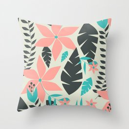 Coral pink flowers and leaves Throw Pillow