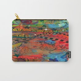 Whimiscal Girl with digital abstract Carry-All Pouch