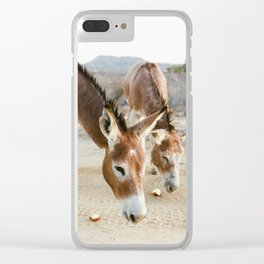 Two Donkeys Eating Apples Clear iPhone Case