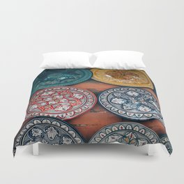 Arabic Moroccan Plates on Wall in Marrakech Duvet Cover