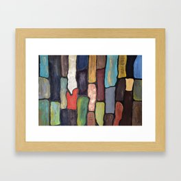 Colorful Abstract art turquoise, red green mix with gold dust Framed Art Print