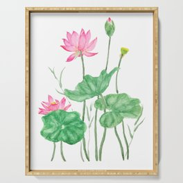 pink lotus flowers watercolor Serving Tray