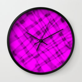 Bright metal mesh with pink intersecting diagonal lines and stripes. Wall Clock