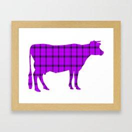 Cow: Purple Plaid Framed Art Print