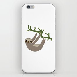 cute Three-toed sloth on green branch iPhone Skin