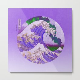 Great Wave Off Kanagawa Mount Fuji Eruption and Gradient Metal Print
