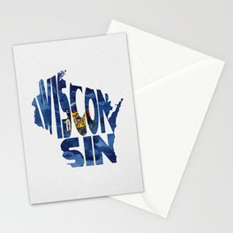 Wisconsin Typographic Flag Map Art Stationery Cards