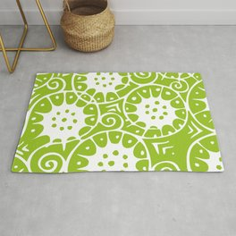 Lime Swirl Pattern | Swirl Pattern | Abstract Patterns | Green and White | Rug