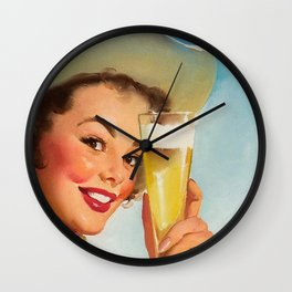 Pin Up Girl and Beer Vintage Art Wall Clock