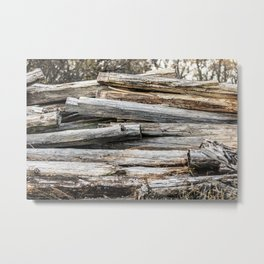 Hand Cut Lumber From Dismantled Log Barn 2 Metal Print