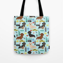 Dachshund dog breed NYC new york city pet pattern doxie coats dapple merle red black and tan Tote Bag