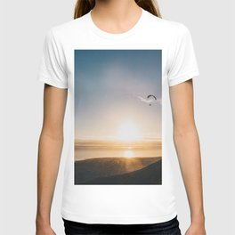 Sunset Paragliding over beach and mountains T-shirt