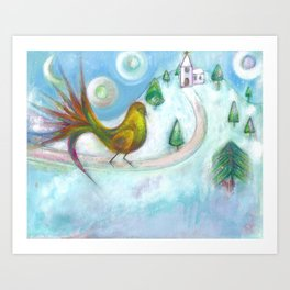 Christmas Dream Bird Art Print
