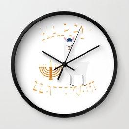 Happy Llamakah T-Shirt Hanukkah Llama Jewish Wall Clock