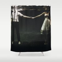 abstract Shower Curtains featuring abyss of the disheartened : IX by Heather Landis