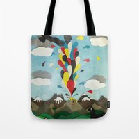 chile Tote Bags featuring Sur de Chile by i am nito