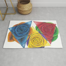 Complimentary Color Rose Trio With Geometric Triangles Rug