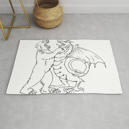 Bear Fighting Chinese Dragon Drawing Black and White Rug