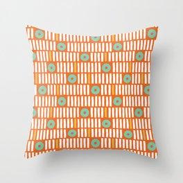 Geometrical abstract orange white turquoise stripes polka dots Throw Pillow