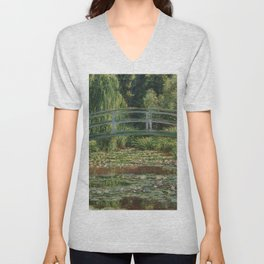 1899-Claude Monet-The Japanese Footbridge and the Water Lily Pool, Giverny-89 x 93 Unisex V-Neck