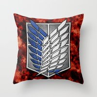 shingeki no kyojin Throw Pillows featuring shield of shingeki  by Blaze-chan