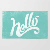 hello Area & Throw Rugs featuring HELLO by Matthew Taylor Wilson